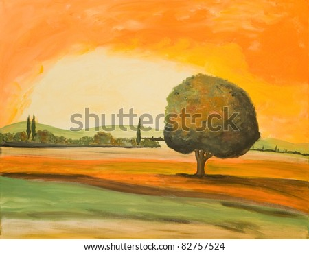 Acrylic Painting of a Tuscan Landscape - stock photo