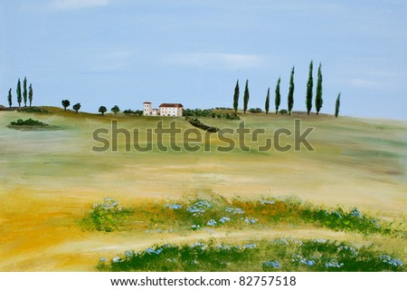 Acrylic painting of a tuscan landscape by a private artist