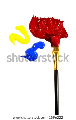 acrylic paints yellow, blue, red and one brush - stock photo
