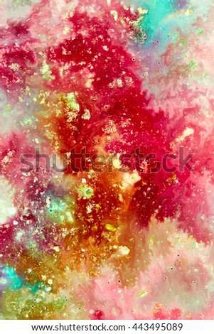Acrylic texture with golden paint - stock photo