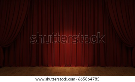 Act drape with red curtains. 3D rendering image.