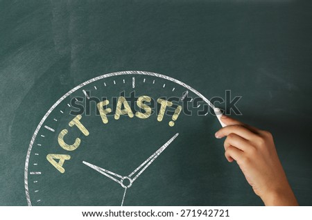 Act Now Concept on a Blackboard - stock photo