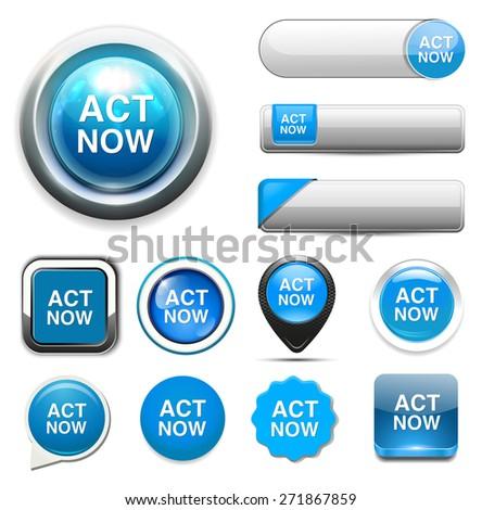 act now icon - stock photo