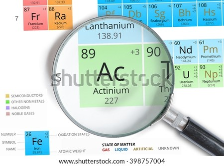 Actinium symbol ac element periodic table stock photo 398757004 actinium symbol ac element of the periodic table zoomed with magnifying glass urtaz Image collections