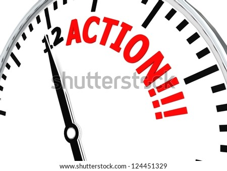 Action clock - stock photo
