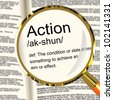 Action Definition Magnifier Shows Acting Or Proactive - stock photo
