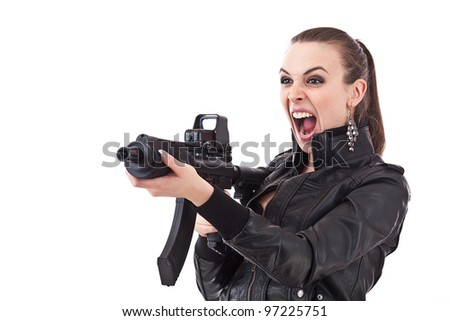 Action girl whit rifle isolated on white background. - stock photo
