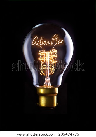 Action Plan concept in a filament lightbulb. - stock photo