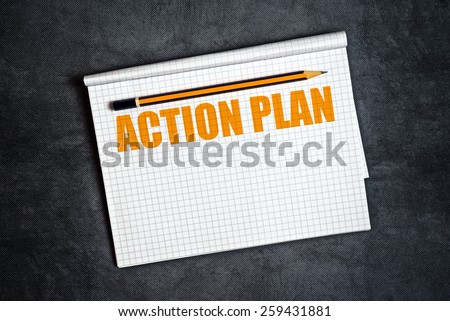Action Plan Copy Space with Pencil And Blank Notepad Page for Text. - stock photo