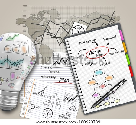 Action plan with a notebook as a concept - stock photo