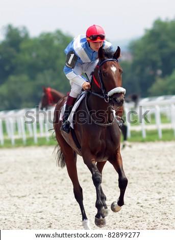 Action shot of jockeys in horse race. - stock photo