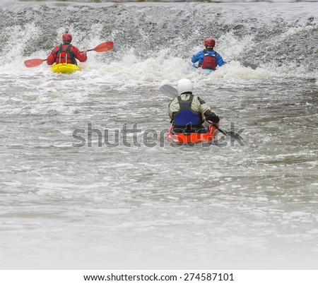 Action sport with copy space - kayaking - stock photo