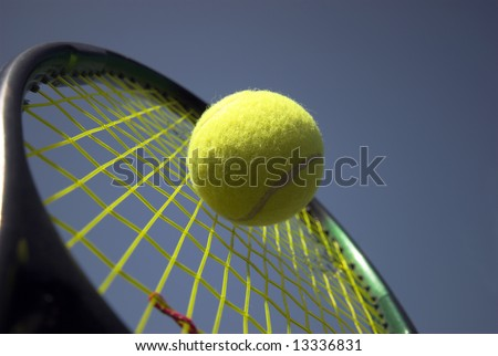 Action Summer Tennis Sky Blue - racket and yellow tennis ball - stock photo