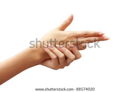 action woman Hand, characteristics is a gun - stock photo