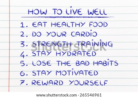 active and healthy lifestyle 'how to' list with goals to be fit and motivated - stock photo
