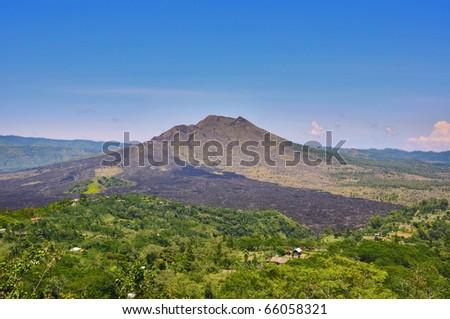 Active Batur volcano. Bali, Indonesia. - stock photo