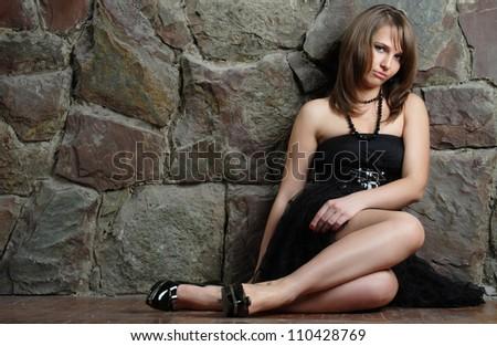 active, beautiful girl in the studio shooting - stock photo