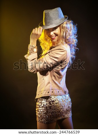 Active blonde beauty  - stock photo