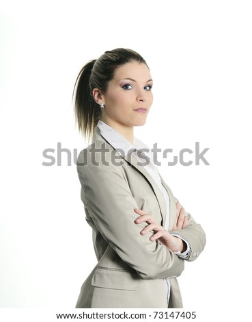 active buisnesswoman with serious expression - stock photo