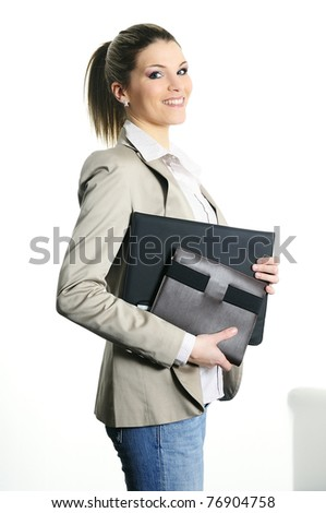 active businesswoman with dairy and records - stock photo