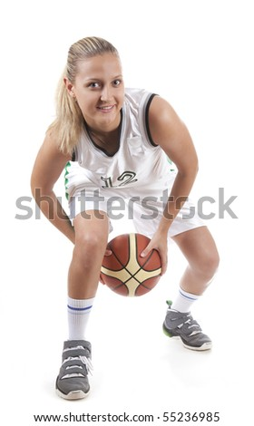 Active female basketball player, isolated on white background - stock photo