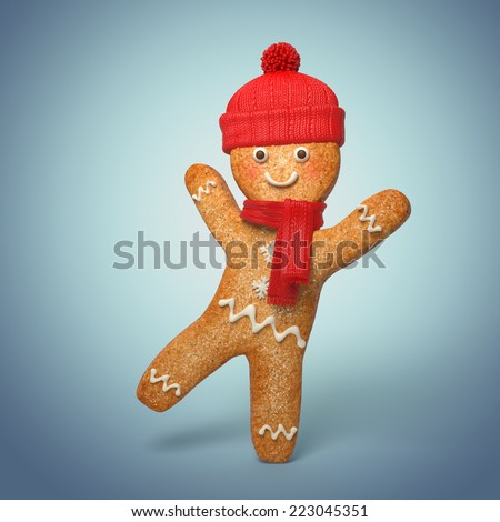 active gingerbread man illustration, 3d cookie cartoon character wearing knitted scarf and hat - stock photo