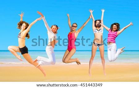 Active Girls Under the Sun  - stock photo