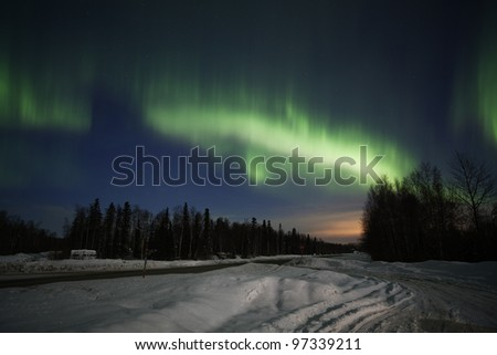 Active green Aurora Borealis in Alaska