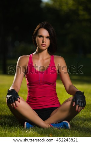Active healthy lifestyle fitness  . Beautiful sexy  girl goes in for sports on nature. - stock photo