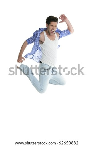 Active high fly jumping man denim fashion jeans isolated on white background - stock photo