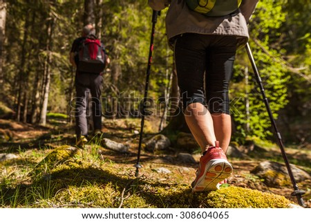 active holiday in the mountains alps - stock photo
