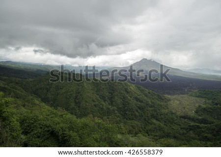 Active Indonesian volcano Kintamani mountain in the tropical island Bali, Indonesia