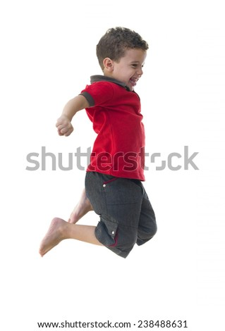 Active Joyful Boy Jumping Isolated on White Background - stock photo