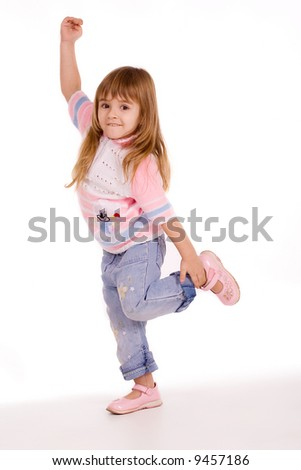 Active little girl over white background - stock photo