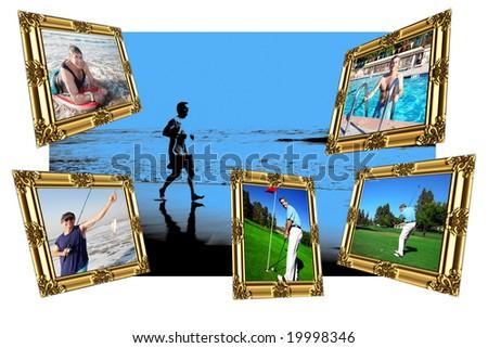 Active Mature Man Montage - stock photo