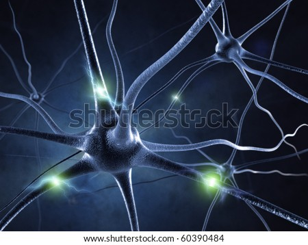 active nerve cell in human neural system - stock photo