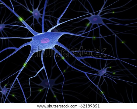 Active Nerve Cells - stock photo