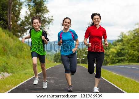 Active people running - stock photo