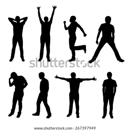 active people silhouette - stock photo