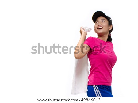 active pretty girl pose in sport action look with smiling face