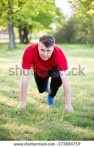 Active senior man outdoor - stock photo