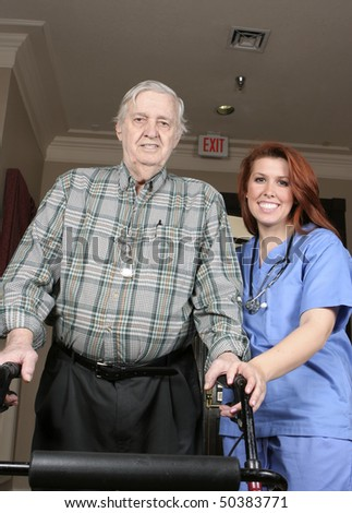 Active senior with his walker and nurse assisting.