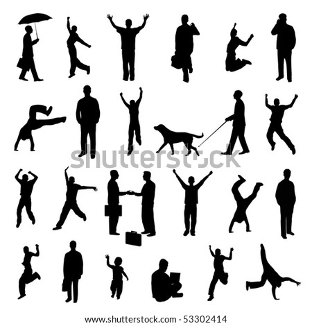 Active Silhouettes. EPS available in portfolio. - stock photo