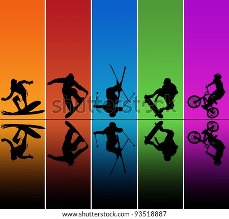 Active sports silhouettes over a rainbow background - stock photo