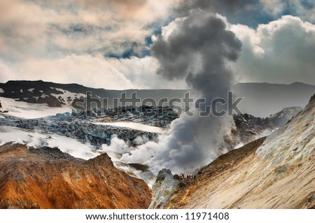 Active volcanic crater, Mutnovsky volcano, Kamchatka - stock photo