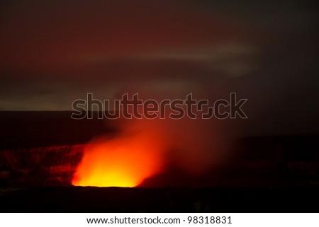 active volcano (Big Island Hawaii) - stock photo