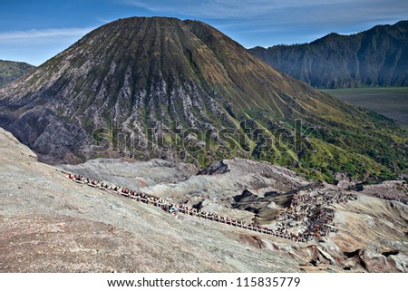 Active volcano in Indonesia on the island of Java