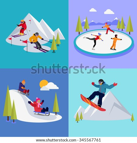 Active winter vacation extreme sports. Sledding and sking, skating and mountain, snow and recreation, travel outdoor, cold and holiday, snowboarder athlete illustration. Raster version - stock photo