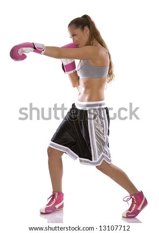 active woman female boxer jumping high on white background - stock photo