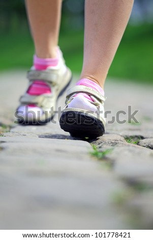 Active woman on a walk, healthy life and summer vacation